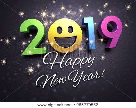 Joyful New Year Date 2019 With A Smiling Face And Greetings, On A Glittering Black Card - 3d Illustr