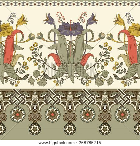 Vintage Vector Floral Border. Seamless Pattern, Victorian Style. Vintage Floral Illustration Wallpap