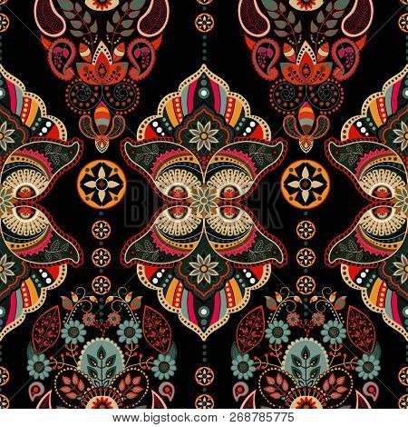 Vector Ornamental Pattern, Arabian Style. Colorful Ethnic Wallpaper. Geometric Seamless Indian Patte