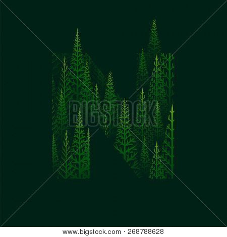 Vector N letter with pine tree forest illustration for Happy New Year. Abstract vector pattern.