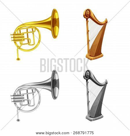 Isolated Object Of Music And Tune Sign. Set Of Music And Tool Stock Vector Illustration.