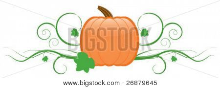 Pumpkin with vines and leaves; perfect for any autumn project