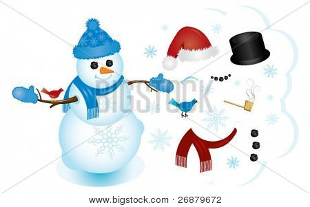 Build your perfect snowman using the interchangeable pieces! Perfect for any Christmas or winter project.
