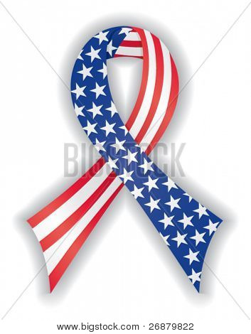 Smooth, satin awareness ribbon in American flag pattern