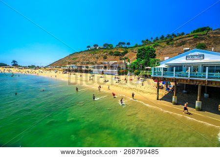 Malibu, California, United States - August 7, 2018: Scenic Coastal Landscape With Santa Monica Mount