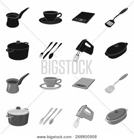 Vector Illustration Of Kitchen And Cook Symbol. Set Of Kitchen And Appliance Stock Vector Illustrati