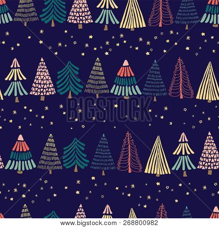 Modern Abstract Doodle Christmas Trees In A Row And Stars On A Dark Blue Background. Seamless Vector