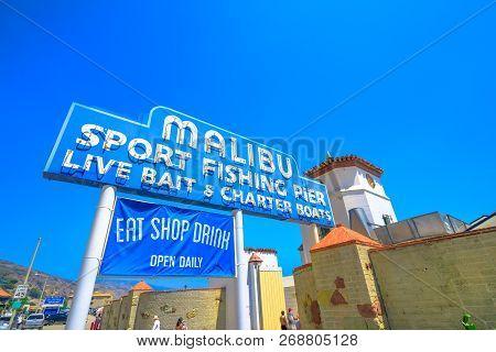 Malibu, California, United States - August 7, 2018: Historic Malibu Pier Sign, One Of The Longest Pi