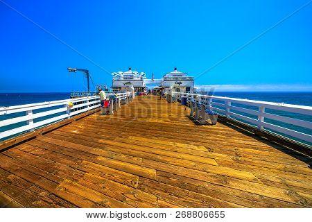 Malibu, Ca, United States - August 7, 2018: Historic Malibu Pier, A Southern California Icon In The