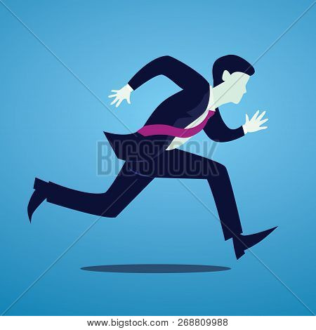 Vector Illustration Of Businessman Spint Running, Fast Business Concept