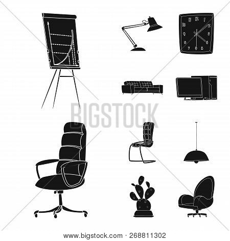 Vector Illustration Of Furniture And Work Logo. Collection Of Furniture And Home Vector Icon For Sto