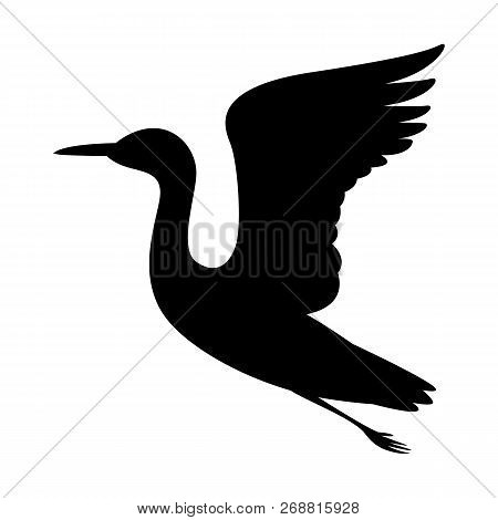 Heron  Vector Illustration   Black Silhouette  Profile View