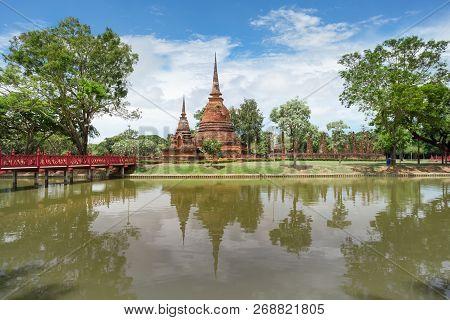 UNESCO World Heritage site Wat Sa Si in Sukhothai Historical Park, Sukhothai province, Thailand. poster