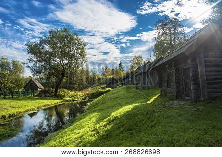 Wooden Russian Baths On The Bank Of The Ukhtanka River In The Village Of Vyatskoye, Russia.