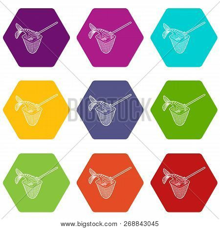 Fishing Net Icons 9 Set Coloful Isolated On White For Web