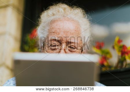 Senior woman using a digital tablet