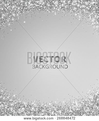 Sparkling Glitter Border, Frame. Falling Silver Dust On Gray Background. Vector Glittering Decoratio
