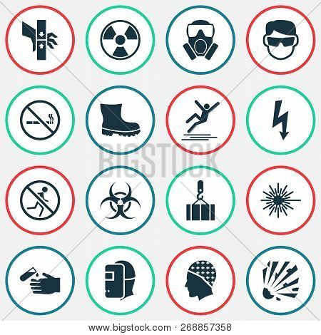 Protection Icons Set With Welder, Bio-hazard, Not Running And Other Radiation Elements. Isolated Vec