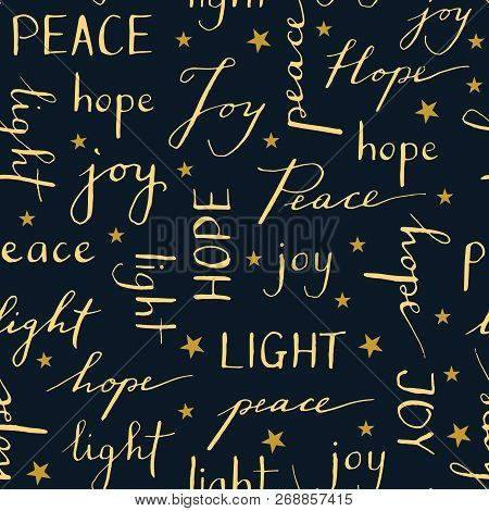 Hand Written Christmas Typography Vector Seamless Pattern. Winter Holiday Calligraphy Words Peace Jo