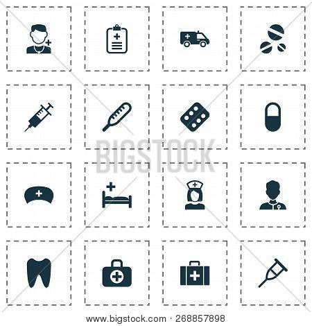 Drug Icons Set With Clinic, Aid, Medic And Other Pellet  Elements. Isolated Vector Illustration Drug