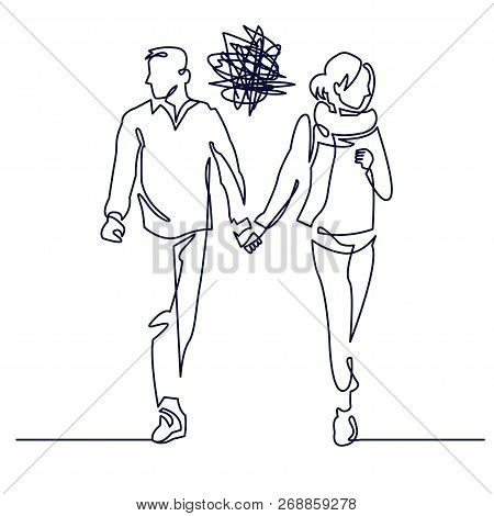 Young Couple Walking Continuous One Line Drawing. Romantic Unsuccessful Date. Misunderstanding Confl