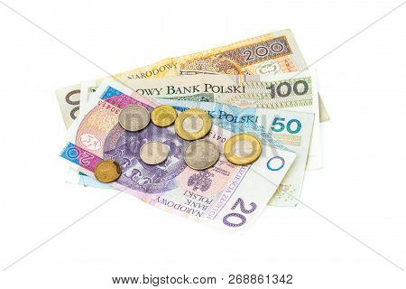Polish Zloty Banknotes, Money, Currency Of Poland Isolated On White.