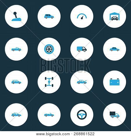 Auto icons colored set with wheel, lorry, carriage and other chassis elements. Isolated  illustration auto icons. poster