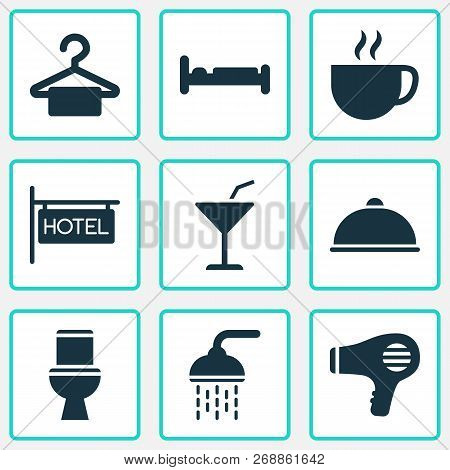 Tourism Icons Set With Bathroom, Hairdryer, Meal And Other Blowdryer Elements. Isolated  Illustratio