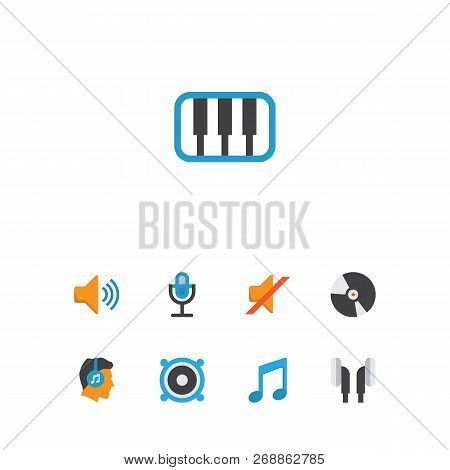 Multimedia Icons Flat Style Set With Silent, Ear Muffs, Compact Disk And Other Karaoke Elements. Iso