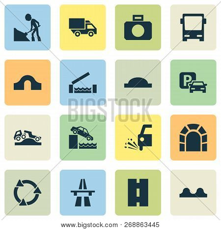 Transportation Icons Set With Road Work, Quayside, Truck And Other Van Elements. Isolated Vector Ill