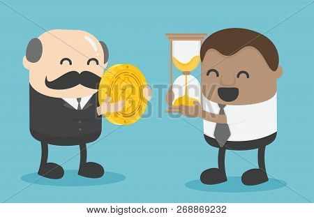 Elderly Businessman Exchanging Money With An African Businessman's Hourglass. Exchange Precious Mome