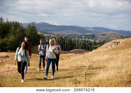 Multi ethnic group of five happy young adult friends walking on a rural path during a mountain hike poster