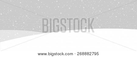 Grey Banner With Winter Landscape And Snow For Seasonal, Christm