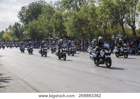 Thessaloniki, Greece - October 28 2018: Hellenic Police Motorcycles During Oxi Day Parade. Greek Pol