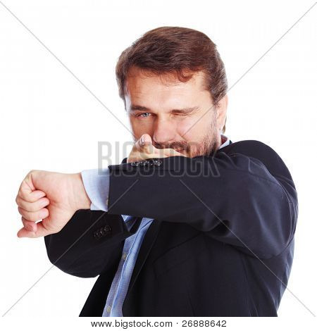 Mature businessman pointing to camera, isolated over white background