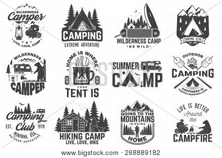 Summer Camp. Vector Illustration. Concept For Shirt Or Patch, Print, Stamp Or Tee. Vintage Typograph