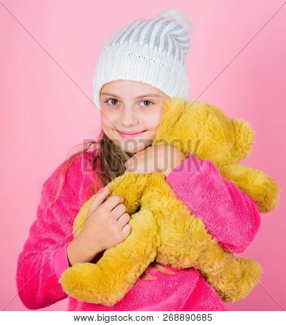 Teddy Bears Improve Psychological Wellbeing. Kid Little Girl Play With Soft Toy Teddy Bear Pink Back