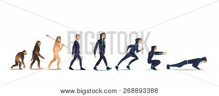 Vector Illustration Of Human Evolution From Ape Via Businessman To Sportsman.