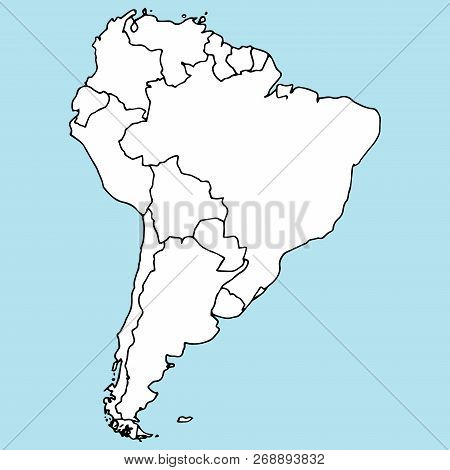 Map Of South America. Vector Illustration Outline Map Of South America. Hand Drawn Atlas, Globe, Map