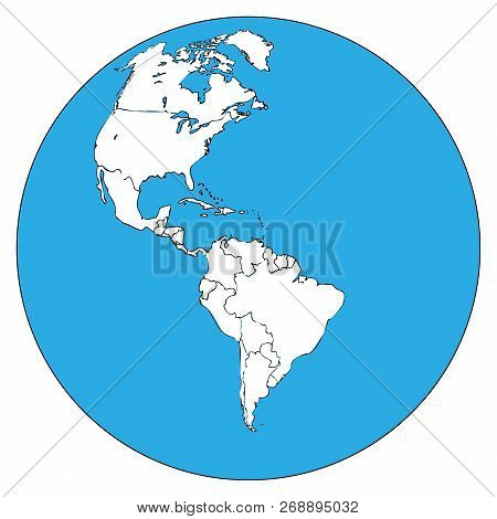 Map Of North And South America. Vector Outline Map Of South America, North America. Hand Drawn Globe