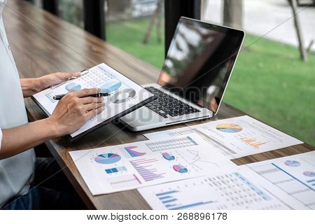 Business Woman Accountant Working Audit And Calculating Expense Financial Annual Financial Report Ba