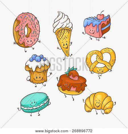Vector Illustration Set Of Cute Sweet Desserts Cartoon Characters.