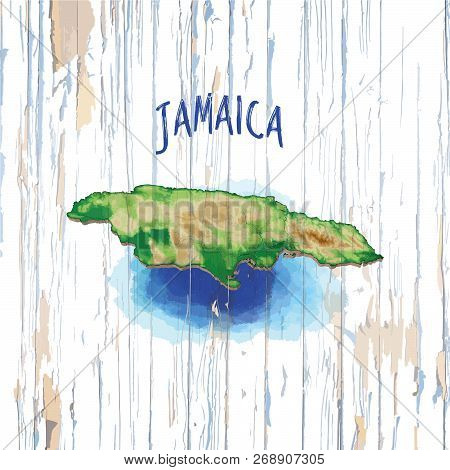 Vintage Map Of Jamaica. Vector Illustration Template For Wall Art And Marketing In Square Format.