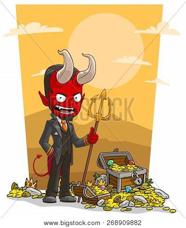 Cartoon Sly Evil Red Devil Character With Trident And Treasure Chest With Diamonds, Gold Coins And G