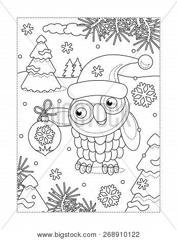 Winter Holidays, New Year Or Christmas Joy Themed Coloring Page With Owl Wearing Santa Cap And Holdi