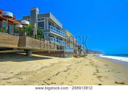 California West Coast. Malibu Beach Houses On Popular Carbon Beach Also Called Billionaire Beach For