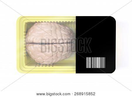 Food Packaging With Human Brain Organ Inside, 3d Illustration