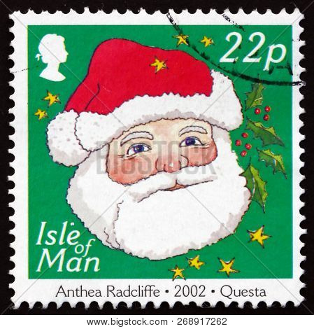 Isle Of Man - Circa 2002: A Stamp Printed In Isle Of Man Shows Santa Claus, Christmas, Circa 2002