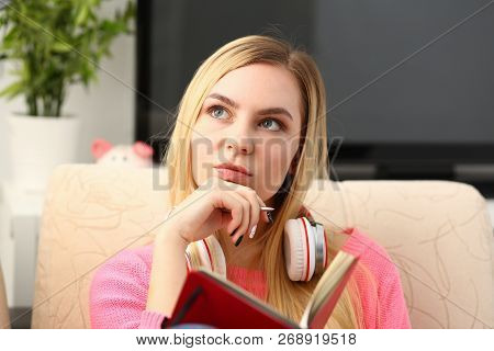 Young Beautiful Woman Fill In Your Personal Diary Bright Impressions Concept