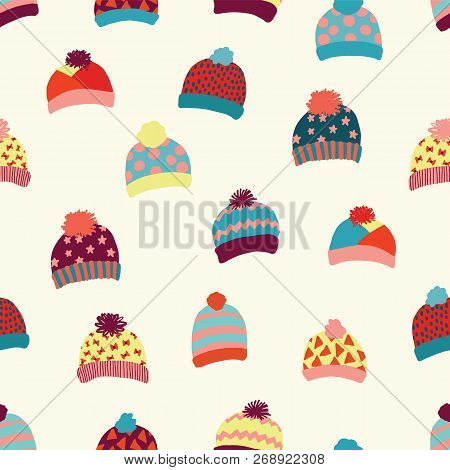 Seamless Vector Background Knitted Wool Hats. Warm Winter Clothes Wear Pattern. Hand Drawn Cozy And